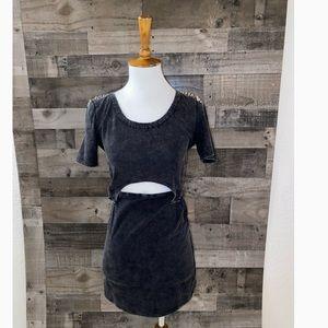MUSTARD SEED SZ M CHARCOAL  ACID WASH CUTOUT DRESS